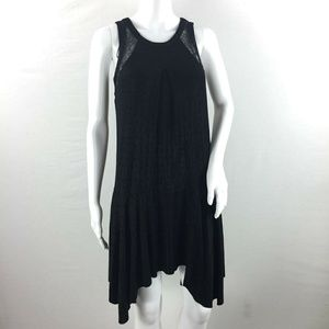 Free people lace accent swing dress XS black
